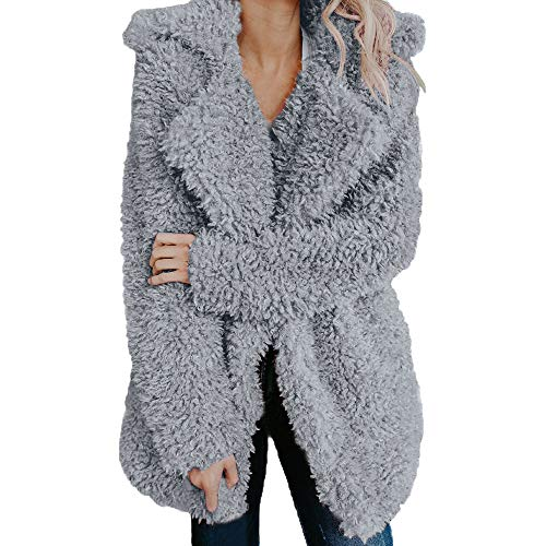 Great Features Of Women's Faux Fleece Jackets Lapel Fuzzy Faux Shearling Coat Jacket Long Sleeve Win...