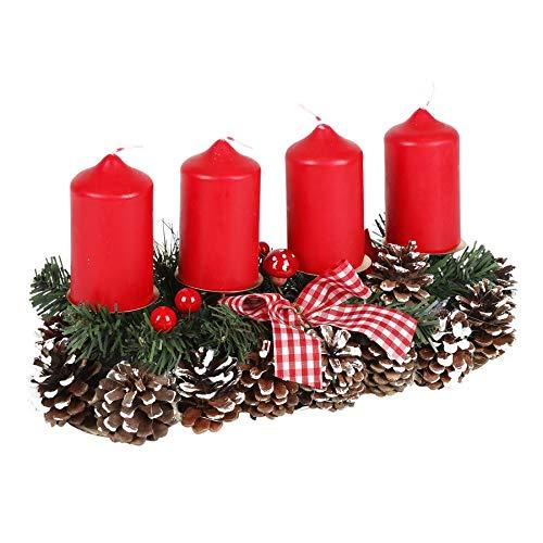 Unbekannt Arreglo de Adviento 35x15cm Arreglo Floral de Navidad Decoración de Navidad Corona de Adviento...