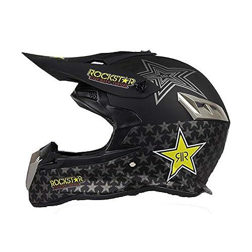 6325e63da3f926 Woljay Casques motocross Casque sport moto sport double sport Saleté  Bicyclette VTT Rockstar Noir (XXL