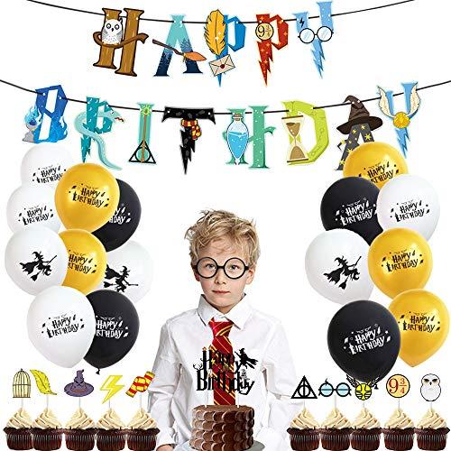 SPECOOL Mago Cumpleaños Fiesta Decoracion Temática Corbata Gafas Banner de Feliz Cumpleaños Mago Globo Halloween Fiestas Suministros para Niños Niños Niñas