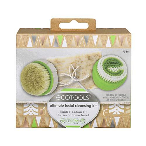 EcoTools Set de regalo de limpieza facial con cepillo de limpieza facial, limpiador y exfoliante facial, juego de 3 productos para el cuidado de la piel