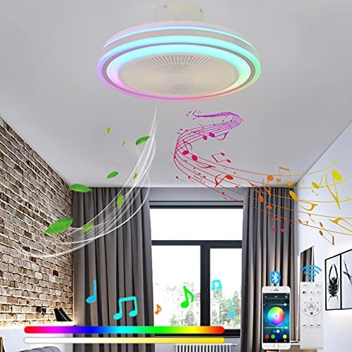 VOMI Regulable Lámpara de Techo con Mando a Distancia Silencioso Ventilador de Techo 3 Velocidades de Viento Ajustables RGB Cambios de Color Luz del Ventilador Bluetooth Altavoz para Dormitorio