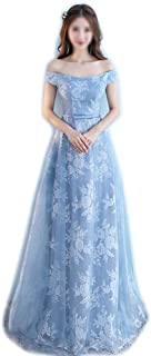 Sleeveless Lace Chiffon Wedding Bridesmaid Gown Prom Dress Blue Women (Color : Blue-D, Size : XXL)