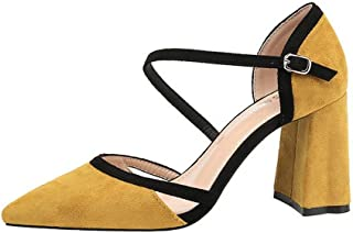 LUKEEXIN Ladies Fashion Pointed High Heels Sexy Rough with Professional Work Shoes