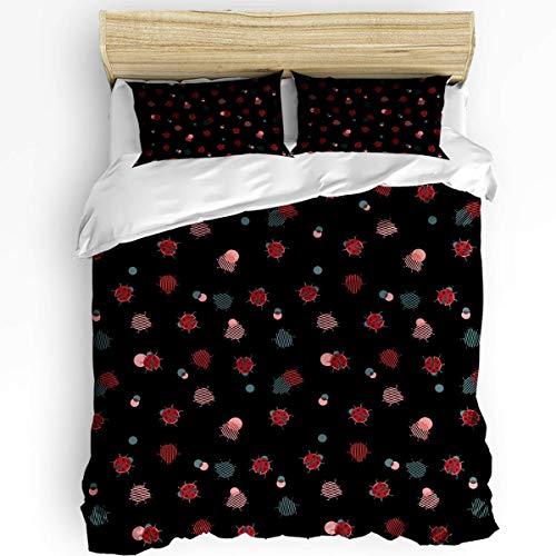 Juego de Funda nórdica Suave de 3 Piezas Black Red Ladybug con 1 Funda nórdica y 2 Fundas de Almohada para el Juego de Cama de Dormitorio con Cierre de Cremallera y Lazos de Esquina