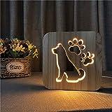 Hund Klaue aus Holz Lampe Kind Schlafzimmer Dekoration warmes weißes Licht Innendekoration Freund...