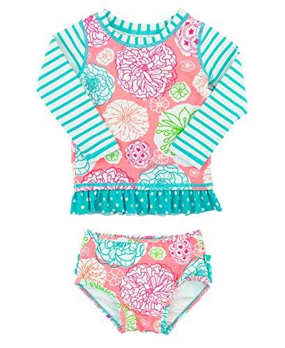 RuffleButts Baby/Toddler Girls Floral Striped Mix-Print Long Sleeve Rash Guard Set w/Ruffles - 12-18m