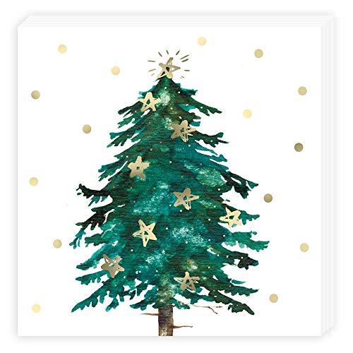 Unbekannt 20 Weihnacht Servietten Tannenbaum, dreilagig, 33 x 33 cm