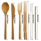 16si Bamboo Utensils Cutlery Set Reusable Cutlery Travel Set Eco-Friendly Wooden Silverware for Kids & Adults Outdoor Portable Utensils with Case - Bamboo Spoon, Fork, Knife, Brush, Chopsticks