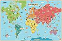 Wall Pops WPE0624 Kids World Dry Erase Map Decal Wall Decals by Wall Pops [並行輸入品]