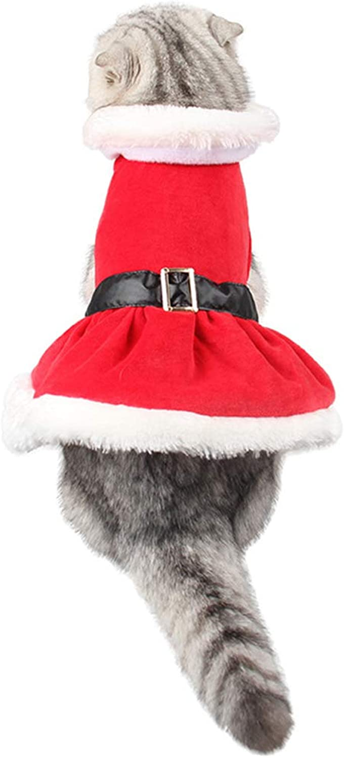 RABILTY Christmas Dog Costumes Santa for Dog Pet Cat Suit (color   Red, Size   Free Size)
