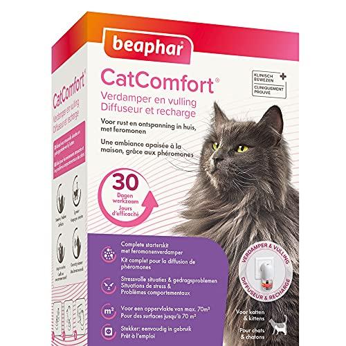 BEAPHAR – CATCOMFORT - Diffuseur électrique de phéromones pour chat – Réduit le stress et les problèmes comportementaux sans dépendance ni somnolence – 1 prise et 1 recharge de 48 ml