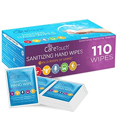Care Touch Hand Sanitizing Wipes   110 Individually Wrapped Antiseptic Wipes   for Home, Travel, and Office Use