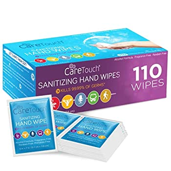 Care Touch Hand Sanitizing Wipes - 110 Individually Wrapped Scent-Free Wet Cleaning Wipes for Home Office Travel and Outdoor Use