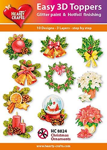 Easy 3D Toppers Kerst Ornamenten, Papier Multi kleuren, 17 x 10 x 1 cm