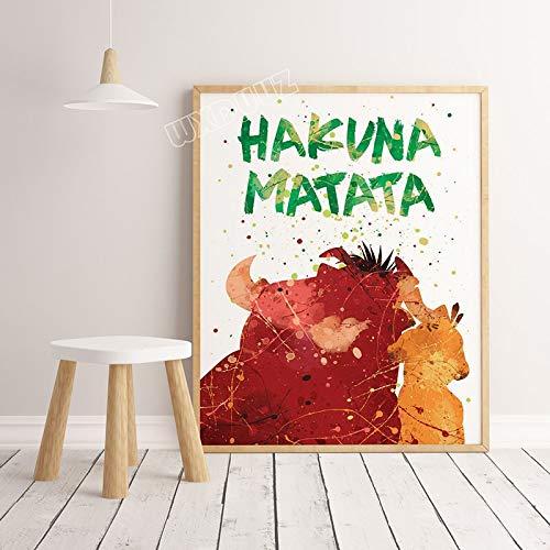 SDFSD Creativo Acquerello Cartone Animato Film Il re Leone Poster Bambini Animali Colorati Wall Art Home Decor Pittura Tela Pittura 60 * 100 cm