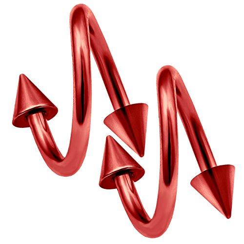 bodyjewelrytrend 2 Stück 1,2mm lippenpiercing spirale Helix Twister Ohr Kugel lippe Tragus Twist unterlippe eloxiert - 8mm