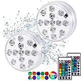 Luz subacuática LED, Luces Sumergibles con 16 Colores 13 LEDs, Luz LED Impermeable, Control Remoto Luz Subacuática para Decorativas Estanque Tanque de Peces Jarrón Boda Navidad Fiesta