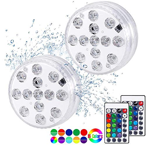 Luz subacuática LED, Luces Sumergibles con 16 Colores 13 LEDs, Luz LED...
