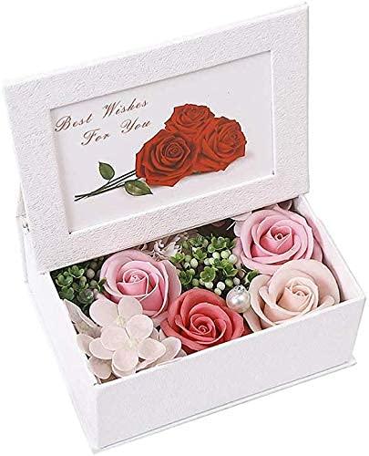Jabones de flores de rosas perfumadas en caja de marco de fotos Jabón de rosas Flores artificiales para el día de San Valentín, el día de la madre, la boda de cumpleaños - Rosa