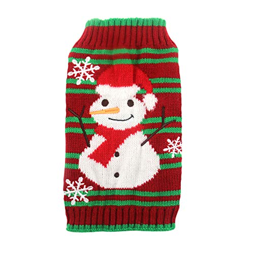 Worderful Dog Snowman Thick Sweaters Xmas Dog Holiday Sweater Year Christmas Clothes for Small Dog (Large, Thick)