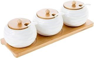 KYBHD 1 Set Céramique Condiments Pot de rangement Assaisonnement Pot bambou Plateau ménagers épices Pot sauce soja Saunièr...