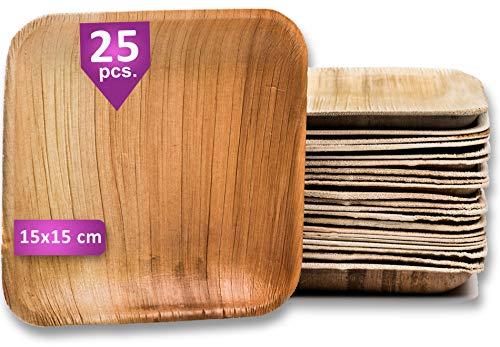 Waipur Bio Palmblattteller - 25 Teller Eckig 15x15 cm - Premium Einweggeschirr kompostierbar - Umweltfreundliches Partygeschirr - Palmblatt Geschirr