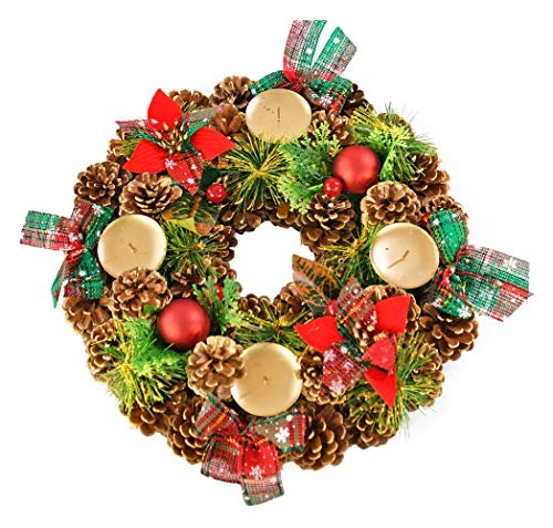 "Home-X Shimmering Pinecone Christmas Wreath Candle Holder, Artificial Advent Wreath, Winter Home Decorations, (15"" Diameter)"