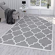 "Ottomanson Grey Runner Moroccan Trellis Design Area Rug, 5'3"" X 7'0"""