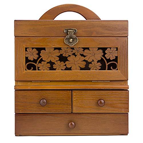 YUNLILI Caja cosmética de Madera Caja de joyería portátil Retro Tallado Caja de Almacenamiento cosmético Grande con Espejo y 3 cajones para tocador, Color Antiguo