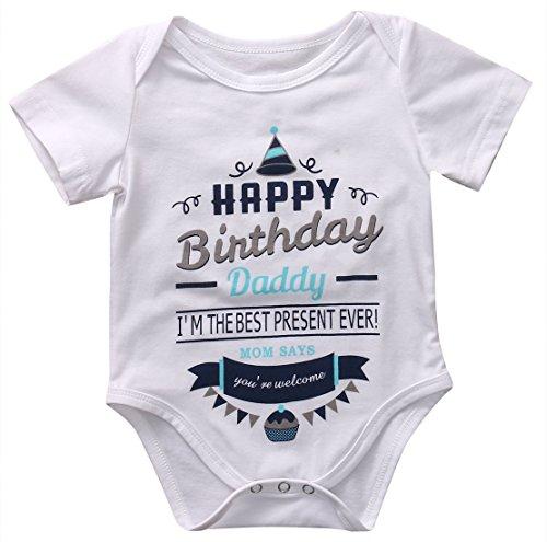 Kleinkind Neugeborenes Baby Frühling Sommer Einteilige Kurzarm Baumwolle Outfit Strampler für den Vatertag 0-18 Monate (0-3 Monate, Weiß)