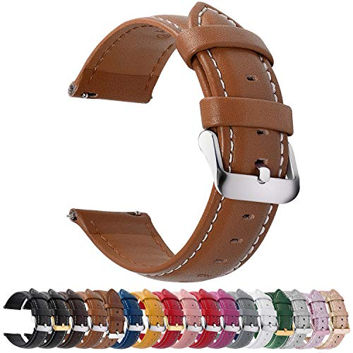 12 Colors for Quick Release Leather Watch Band, Fullmosa Axus Genuine Leather Watch Strap,Brown,22mm