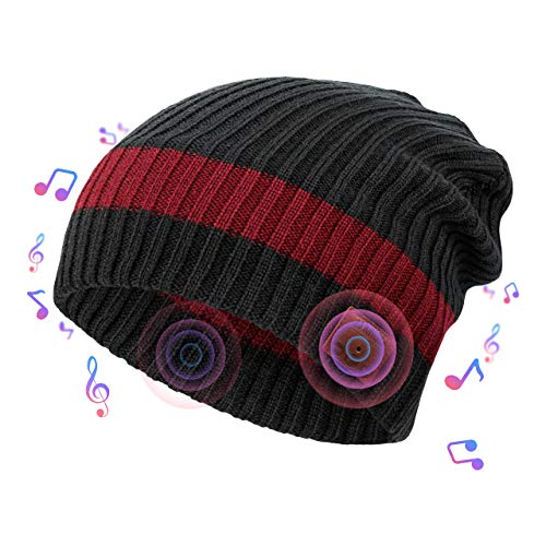 NBPOWER Bluetooth Mütze Beanie Bluetooth Musik Hut Bluetooth kopfhörern StrickMütze mit Stereo Lautsprechern und Mikrofon Geburtstagsgeschenke für Frauen&Männer Winter Warme Hüte - Schwarz