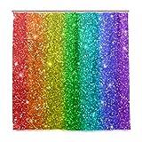 MNSRUU Regenbogen Glitter 183 x 183 cm Polyester Duschvorhang inkl. 12 Haken Badezimmer Deko Wasserdicht für Zuhause