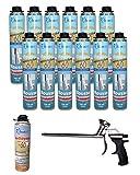 Dstock60 - Set di 12 schiume espansive da 750 ml, 1 pistola a spruzzo, 1 detergente in schiuma poliuretanica, professionale, isola, colla e sigillante, schiuma soffiabile, per esterni e interni