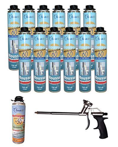 Dstock60 - Ensemble de 12 mousses expansives 750 Ml - 1 Pistolet - 1 Nettoyant mousse - Mousse polyuréthane professionnelle - Isole, colle et rebouche - Mousse pistolable - Extérieur et intérieur -
