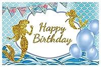 マーメイド背景写真誕生日パーティーフィッシュスケールベビーバナーポスターフォトスタジオ写真背景ベビーシャワー (Color : 4, Size : Thin Cloth 60x40cm)