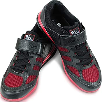 Nordic Lifting Weightlifting Shoes Compatible for Crossfit & Gym - Men s Sneakers - VENJA  Black/Red 9 US
