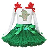 Cinco de Mayo Vestido Cactus Blanco L/S Camiseta Verde Chevron Falda niña Disfraz 1–8Y
