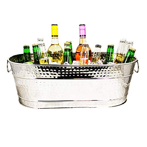 BREKX Colt Hammered Stainless-Steel, Mirror-Finish Beverage Tub, Rust-Resistant and Leak-Proof Ice and Drink Bucket with Handles, 15 Quarts