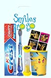 Detective Pikachu 4pc Bright Smile Oral Hygiene Bundle! Light Up Toothbrush, Toothpaste, Brushing Timer, Mouthwash Rise Cup & Stickers.! Plus Dental Gift Bag &'Remember to Brush' Visual Aid!