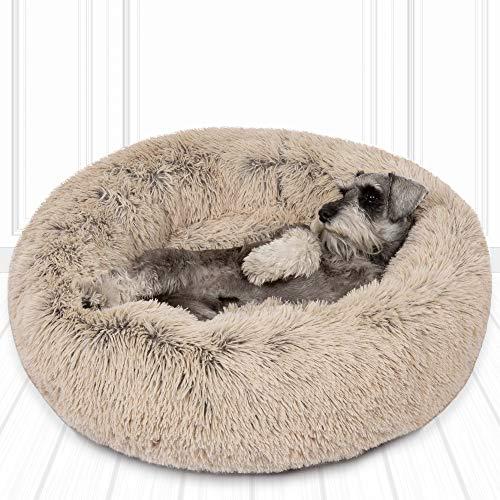 SCM Hundebett Katzenbett Tierbett Klein Hund Bett Hundesofa Katzensofa Plüsch Kissen Flauschig Weich Runden Katze Schlafen Bett