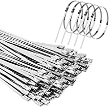 Metal Zip Ties 100pcs 11.8 inch Stainless Steel Zip Ties Multi-purpose Metal Cable Ties Wire Ties for Exhaust Wrapping Fence Ties Chrome Zip Ties for Outdoor and Canopy