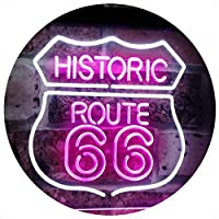 Route 66 Historic US The Mother Road Decoration Dual Color LED看板 ネオンプレート サイン 標識 白色 + 紫 600 x 400mm st6s64-i2371-wp