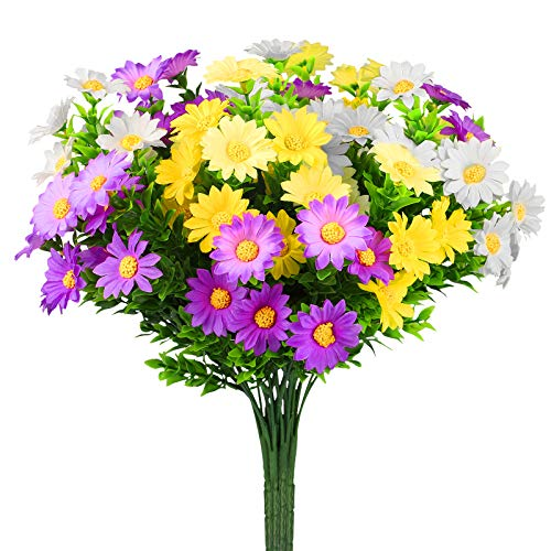 Linkstyle Daisies Artificial Flowers, 6 Pack Fake Colorful Daisy Plant Bouquet for Home Table Centerpieces Decoration, Faux Plastic Flower for Hanging Garden Porch Window Box Décor (Multi-Color)