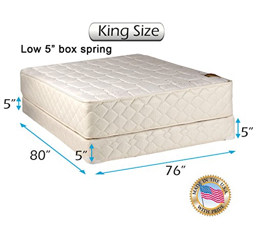 Sale!! Dream Solutions USA Grandeur Deluxe 2-Sided Mattress and Low 5 Height Box Spring Set with Ma...