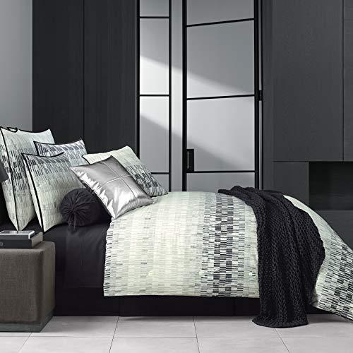 Five Queens Court Black Fulton Geometric 100% Twill Cotton 4 Piece Comforter Set, Cal King, 110x96