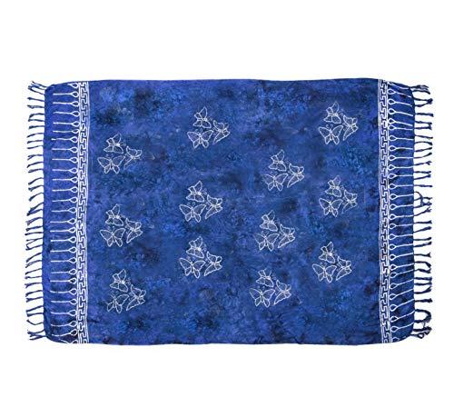 MANUMAR Damen Pareo blickdicht, Sarong Strandtuch in royal blau schwarz mit Schmetterling Motiv, XL Größe 175x115cm, Handtuch Sommer Kleid im Hippie Look, für Sauna Hamam Lunghi Bikini