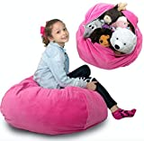 "Stuffed Animal Storage Bean Bag Chair Cover ❤️ ""SOFT 'n SNUGGLY"" Corduroy Kids & Toddlers Prefer Over Canvas - Replace Plush Toy Hammock or Net - Store Blankets & Pillows Too - Large, 4 Colors"