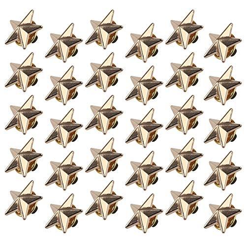 chudian 30 Stück Sterne Brosche Modische Ansteckernadel für Kleidung Hut Anzug Pullover für Damen und Herr Sicherheitsnadel (Gold)